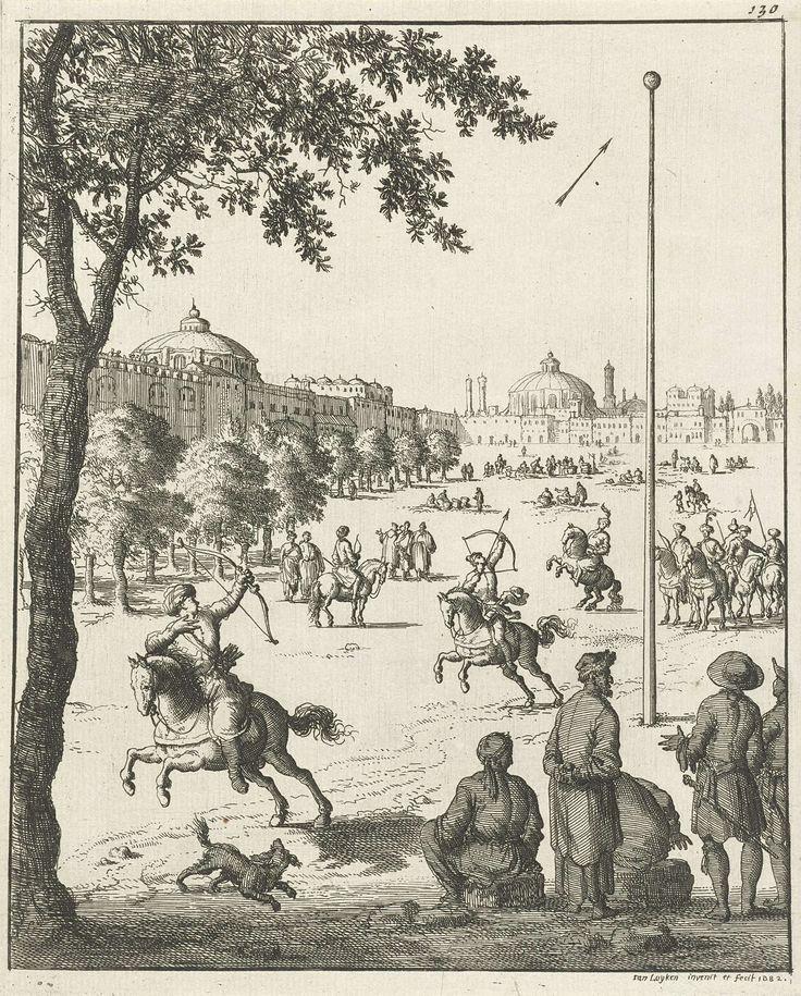 Jan Luyken | Schietoefeningen van Perzen te paard met pijl en boog, Jan Luyken, 1682 | Prent rechtsboven genummerd: 130.