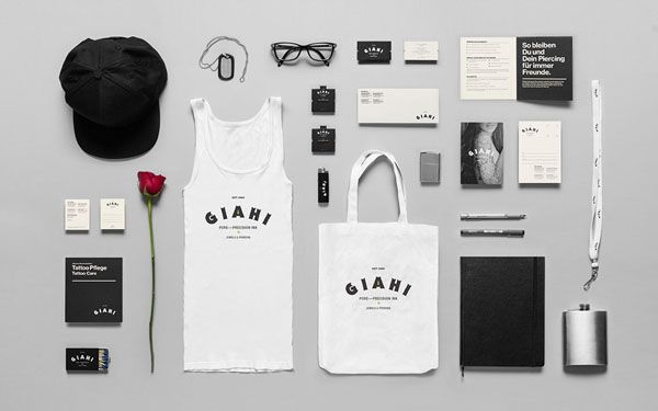 Monterrey, Mexico-based design and branding studio Anagrama developed the brand identity for Giahi, a series of specialized tattoo and piercing studios located in Zurich, Switzerland.