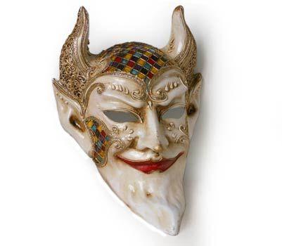 Diavolo V32 . Maschera realizzata interamente a mano, in cartapesta e decorata con colori acrili e glitter.
