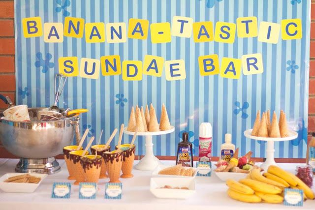 We could even do a Banana Split Bar!!!  Little Big Company | The Blog: Bananas in Pyjamas Party by Rock Paper Sugar Events