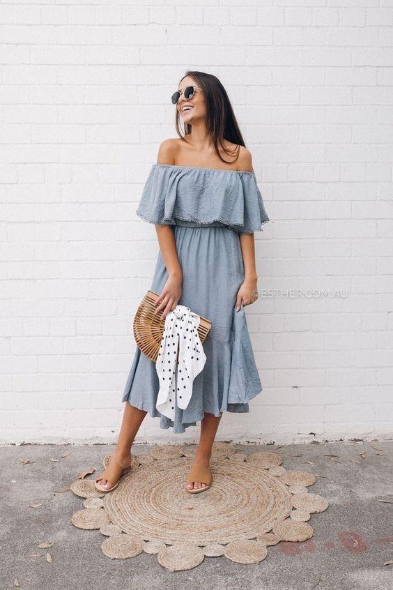 80+ Summer Time For Off Shoulder Dresses Ideas 1