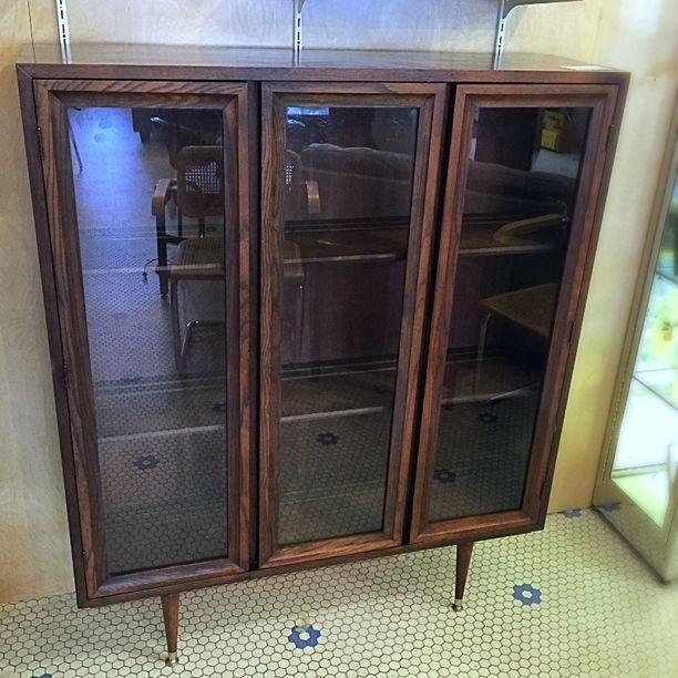 Vintage Midcentury Cabinet Bookcase W Glass Doors Click On Link For All I Modern Vintage Furniture Bookcase With Glass Doors Mid Century Modern Furniture