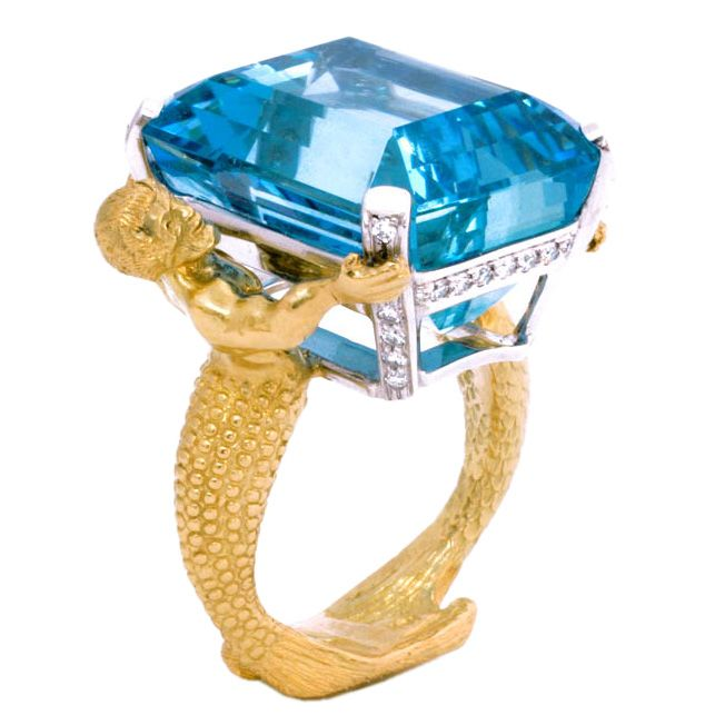 18kt Gold, Platinum, Diamond and Aquamarine Mermaid Ring – Kemi Akilapa