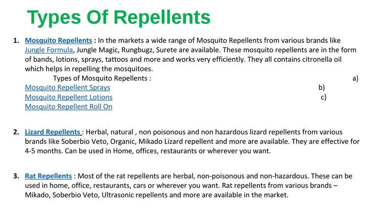 Types of repellents - Mosquito, Rat, Lizard & Cockroach Repellents #repellent #mosquito #jungleformula #ratrepellent #lizardrepellent #cockroachrepellent #mosquitorepellent