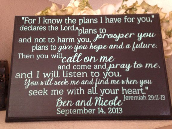 NEW For I know the plans I have for you wood sign, Bible verse sign, anniversary gift, wedding gift, hand painted sign