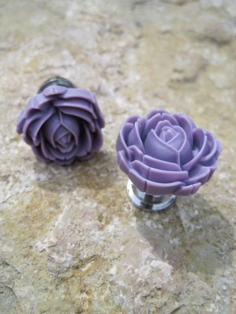 Petite Drawer Knob With Blooming Rose In Spring Purple By DaRosa