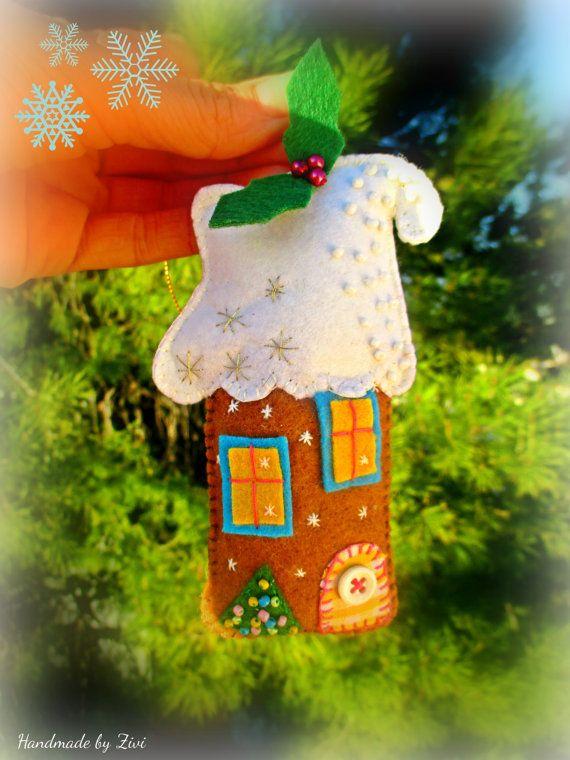 Galleta Jengibre Casa Fieltro Adorno Árbol, Casitas Fieltro Adorno Navidad, Decoración Árbol Navidad, Casita Jengibre Fieltro, Adornos Árbol