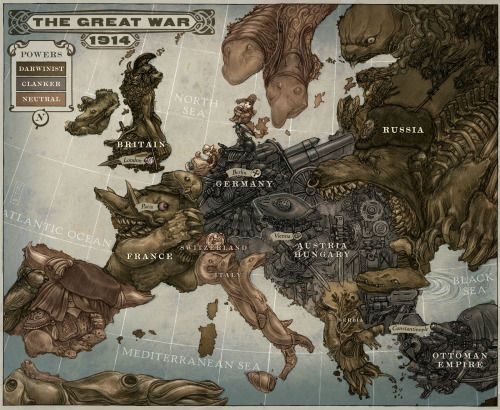 """The Great War 1914, made by Keith Thompson as an illustration for Scott Westerfeld's novel Leviathan.  [[MORE]]  It's an alternate-history novel wherein the """"Darwinists"""" (Allies) use genetically-modified animals for warfare, while the """"Clankers"""" (Axis)..."""