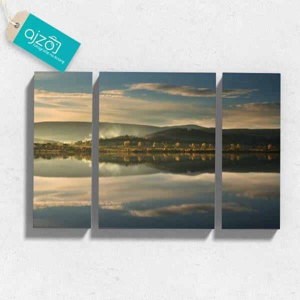 Obraz na płótnie Krajobraz z motywem jeziora na ścianę tryptyk nierówny 120x80 cm