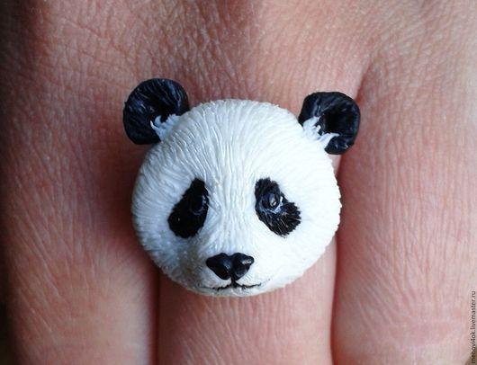 """Кольца ручной работы. Ярмарка Мастеров - ручная работа. Купить Кольцо из полимерной глины """"Панда"""" - кольцо из пластики. Handmade. Белый"""
