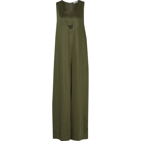 Opening Ceremony - Layered Twill Jumpsuit ($190) ❤ liked on Polyvore featuring jumpsuits, army green, opening ceremony, olive green jumpsuit, jump suit, green jumpsuit and army green jumpsuit