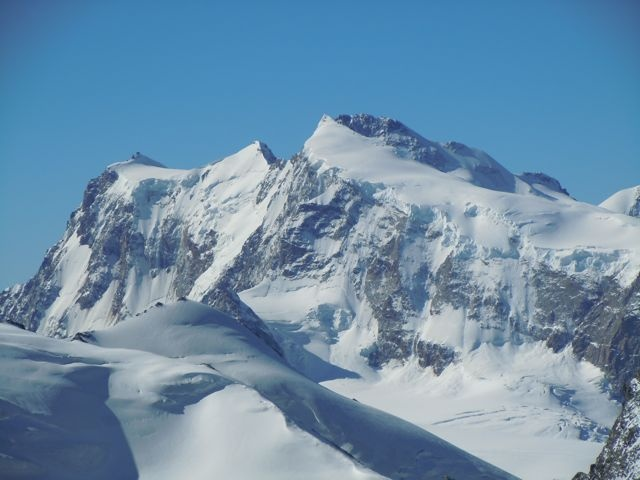 Monte Rosa 4634m. The highest mountain of Switzerland. The picture was taken from the Allalinhorn 4027.