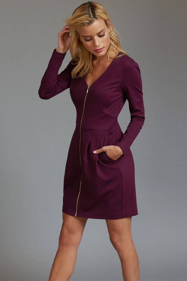 Burgundy Front Zip Tulip Dress with Pockets