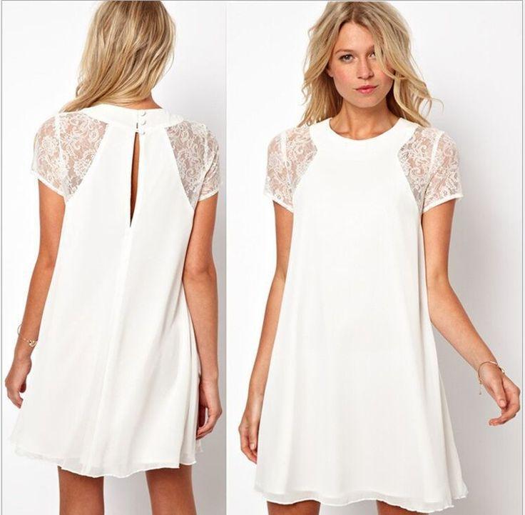 2015 Big Stitching Lace Dress Short Sleeve Vestidos Evening Mini Sexy Women Summer Dress