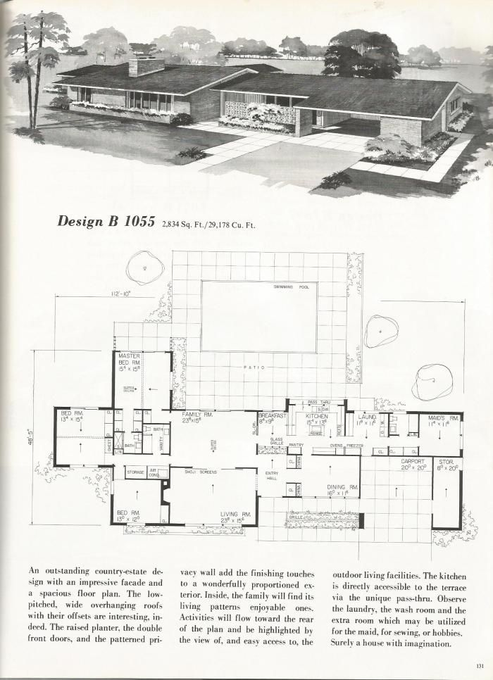 104 best Midcentury Floor Plans images on Pinterest Modern home