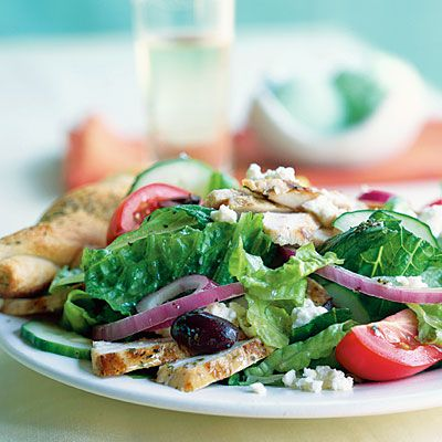 www.gaea.gr Greek Salad with Grilled Chicken Recipe