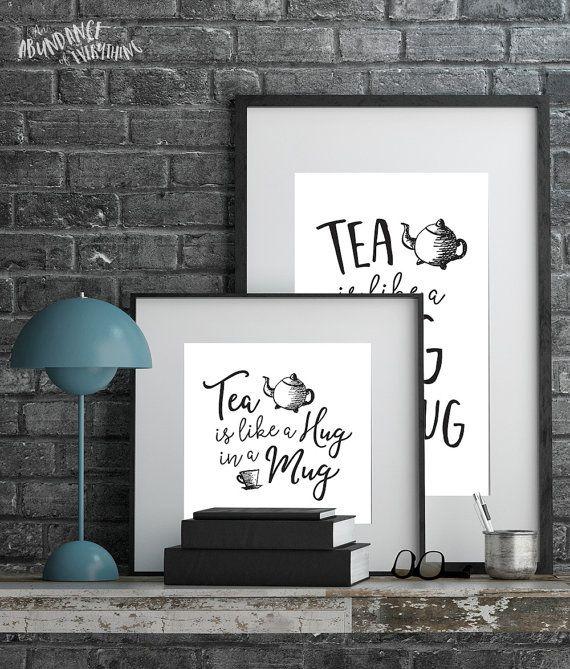 Tea is like a Hug in a Mug  Digital Wall by AbundanceEverything