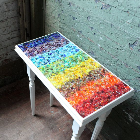 2000 bead resin table Handcrafted pine occasional table