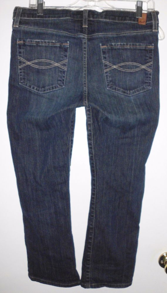 ABERCROMBIE & FITCH Boot Cut Distressed Stretch Blue Denim Jeans Sz 8S Women's #AbercrombieFitch #BootCut