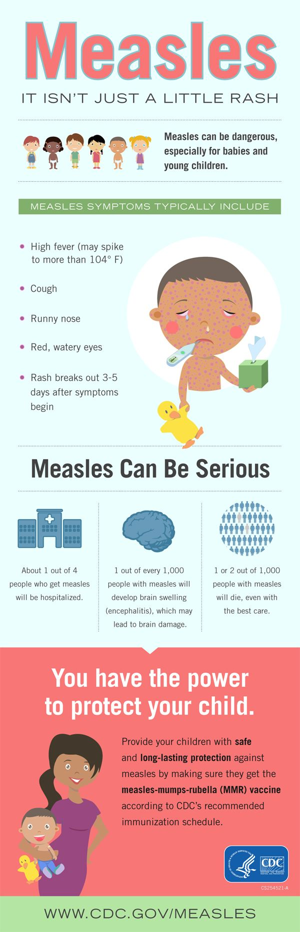 Infographic depicts #measles symptoms, including the serious health problems the disease can cause, but parents have the power to protect their children with MMR #vaccine.