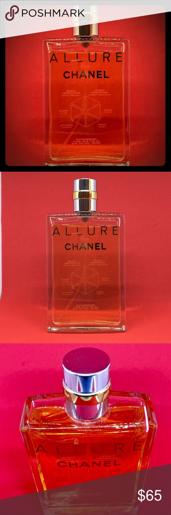 Chanel Allure 😍 3.4 Fl Oz Chanel Allure 😍 3.4 Fl Oz  PRODUCT DESCRIPTION: Difficult to define, impossible to resist. Clean and sheer, warm and sexy, ALLURE is a floral, fresh Oriental fragrance that finds an expression unique to each woman. Because every woman has her own special allure.  Brand new perfume only worn twice!! As shown above and pictures only a bit of the perfume has been used!! ❤️ CHANEL Other