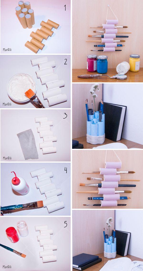 Marivi Trombeta: DIY: Portalápices con tubos de cartón