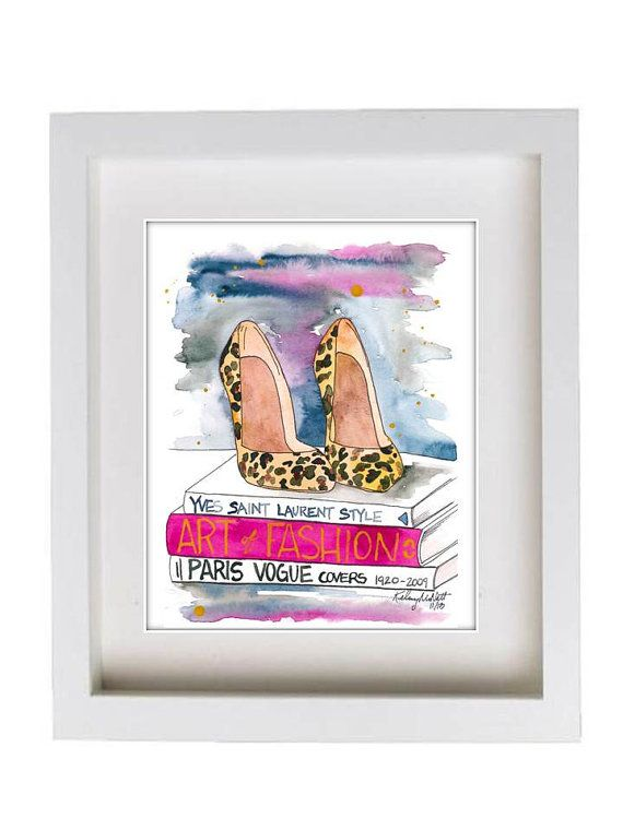 Fashion Illustration Watercolor Painting Print 'The Leopard Heel' -- Home/office decor and wall art, Fashion prints Leopard shoes