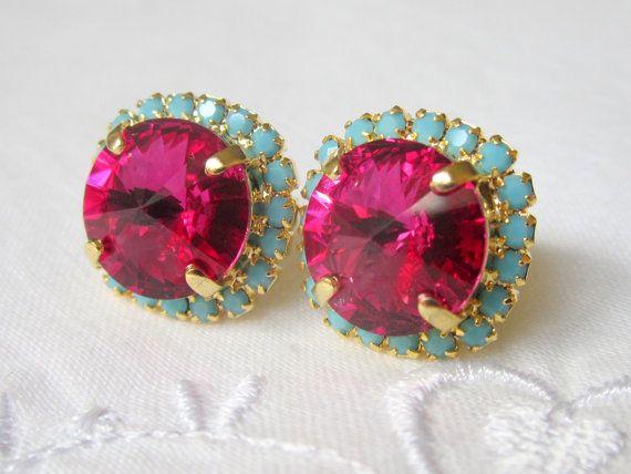 Pink and turquoise Swarovski Rhinestone by EldorTinaJewelry, $38.00