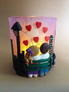 Il meraviglioso mondo del Fimo... e altro ancora!: Lanterna innamorati sulla panchina