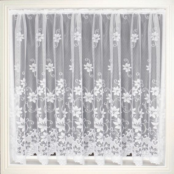 Net Curtain 101 (Floral) Pattern '101' Available in the following drop lengths – 36″, 40″, 45″, 48″, 54″, 72″, 90″ Curtains are 100% Polyester – Hand Washable at 30 degrees