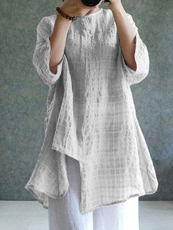 Casual Crew Neck 3/4 Sleeve Shift Asymmetric Crinkled Printed Linen Plus Size Blouse 5
