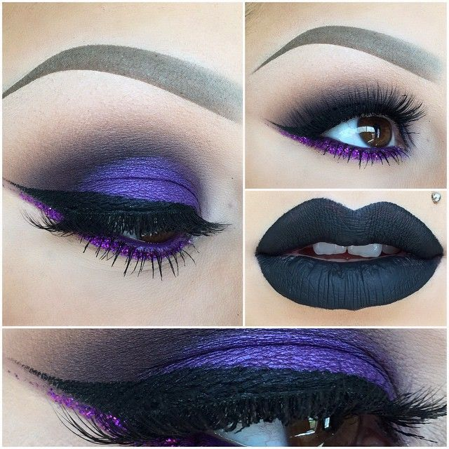 """SleepingBeauty!"" - beautiful cool purple shade all over eyelid with a warm black in crease area softened with a light brown shade blended. purple under eye line with a glitter eye liner winged out. with a gorgeous black lip."