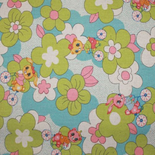 Rabbits and Flowers blue Quilt fabric