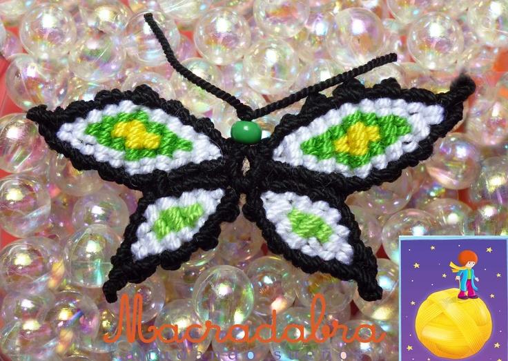 Macradabra: Mariposas verdes en Macramé