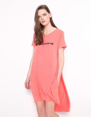 Μπλουζάκι Bershka μακρύ κόψιμο στο πλάι - Bershka - 9,99 €