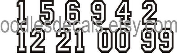Gran sistema de numeración para sus blusas o jerseys del equipo!! Camisetas de tu equipo necesitan números y qué mejor forma que esto! Con este listado se Obtén 10 números---eliges los números! Éstos trabajan en la mayoría de la tela de algodón o algodón/mezcla capaz de hierro. Aplicar con plancha doméstica.  Con este listado tienes 10 números diferentes. Puedes elegir los números. Este listado está configurado así que usted puede tener 4 dígitos y 6 números del dígito, pero tendrás más ...