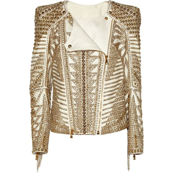 Balmain Embellished leather biker jacket (7 090 BGN) ❤ liked on Polyvore featuring outerwear, jackets, balmain, coats, leather jacket, brown motorcycle jacket, brown leather jacket, beaded jacket and fringe leather jacket