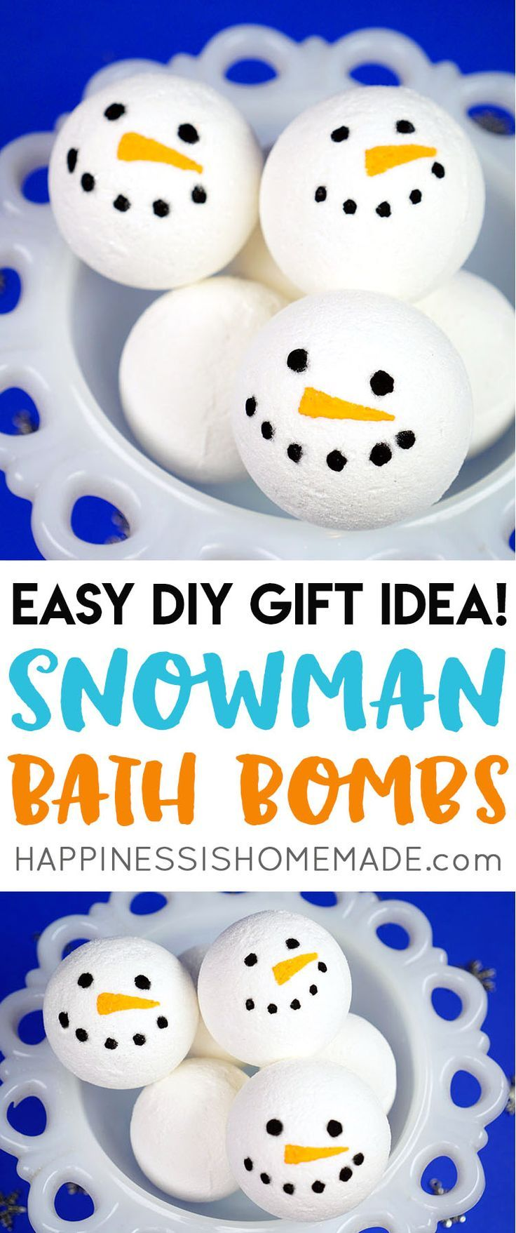 Want to learn how to make bath bombs? This simple DIY snowman bath bomb recipe is perfect for beginners and a great idea for holiday gift giving! via @hiHomemadeBlog