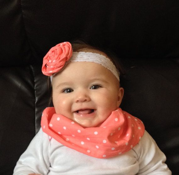 Matching Headband and Baby Infinity Scarf Bib by AChicBabyBoutique, $15.00