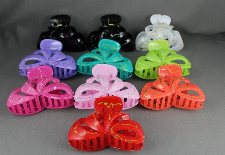 "Green cut out swirl pattern plastic 3 3/8"" long barrette hair clip claw clamp • $4.49 - PicClick"