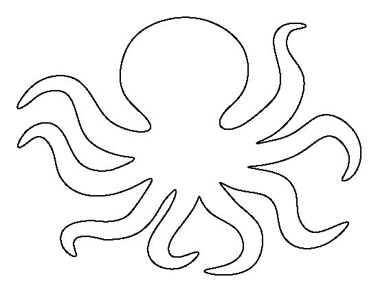 Octopus pattern. Use the printable outline for crafts, creating stencils, scrapbooking, and more. Free PDF template to download and print at http://patternuniverse.com/download/octopus-pattern/