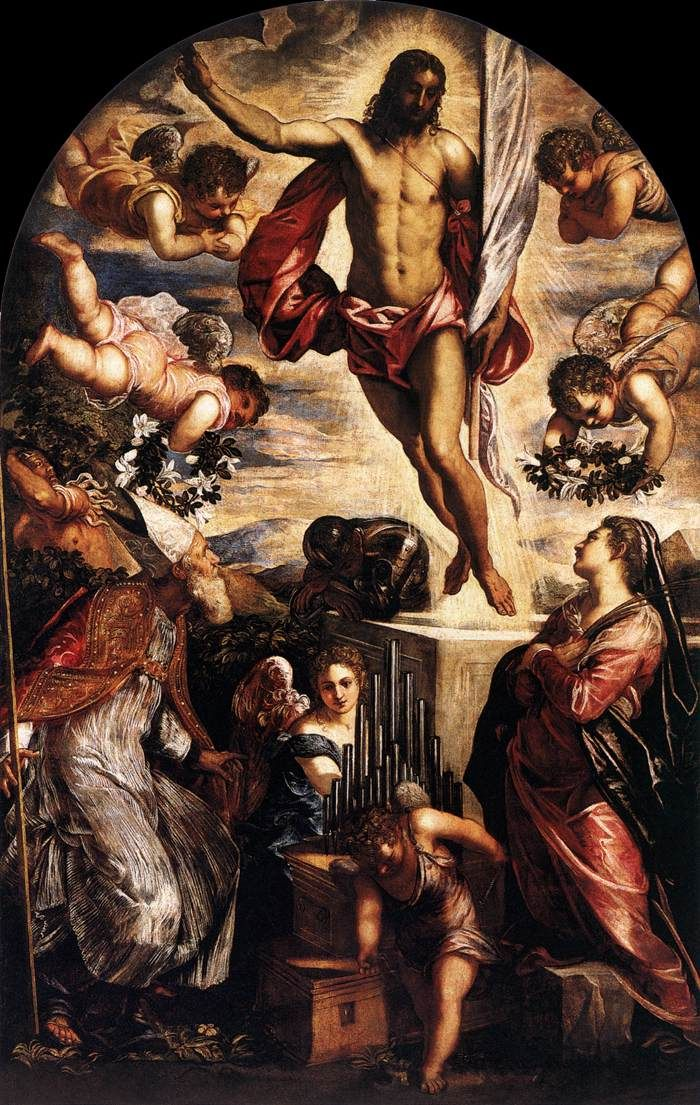 TINTORETTO The Resurrection of Christ 1565 Oil on canvas, 350 x 230 cm (without added lower section) San Cassiano, Venice