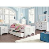 Ashley Iseydona Twin Panel HBD BDRM Set (with Trundle Under Bed) - With the vintage white painted finish over a replicated wood grain along with the 3D Press technology of the case tops and drawer fronts creating a rounded durable edge, the Iseydona youth bedroom collection beautifully captures the craftsmanship of Vintage Casual design while offering ample storage to create the ultimate bedroom decor any child will love.