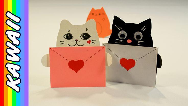 как сделать из бумаги открытку кота