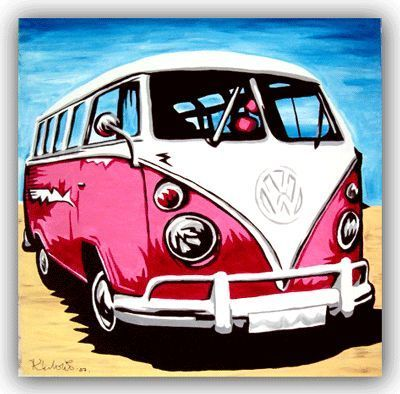 Cool Volkswagen 2017: VOLKSWAGEN ART Original Handpainted Bespoke Canvas Art from The Kludoman Surf Co...  Artwork