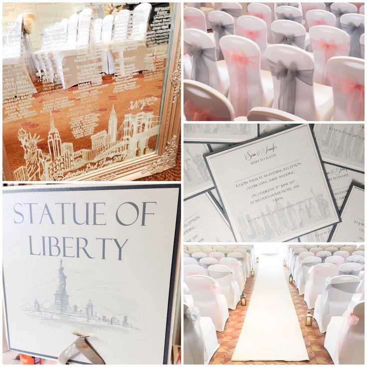 New York themed Wedding blush pink and silver grey landmarks mirror table Plan, covers and sashes, stationery