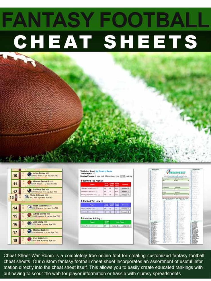 Create Free NFL Cheat Sheets for your Fantasy Football Draft