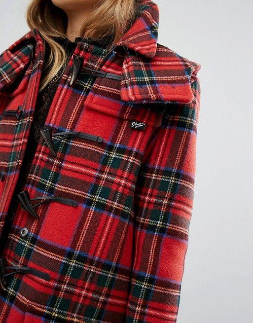 Gloverall duffle coat in royal stewart plaid