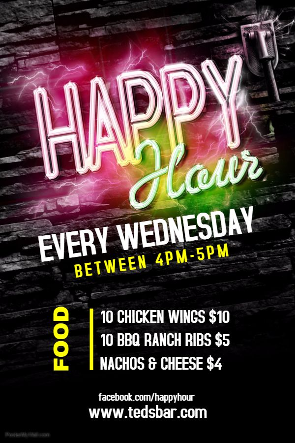 Bar Flyer Template - Happy Hour with Neon. Click on the image to customize on PosterMyWall.