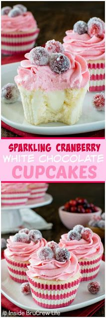 SPARKLING CRANBERRY WHITE CHOCOLATE CUPCAKES - My Kitchen Recipes